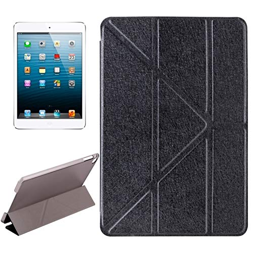 Xyamzhnn Leather Case Transformers Style Silk Texture Horizontal Flip Solid Color Leather Case With Holder For IPad Mini 2019 (Color : Black)