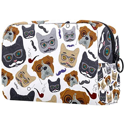 ATOMO Bolsa de maquillaje, bolsa de viaje cosmética grande bolsa de aseo organizador de maquillaje para mujeres, perro experto con patrón de gafas redondas