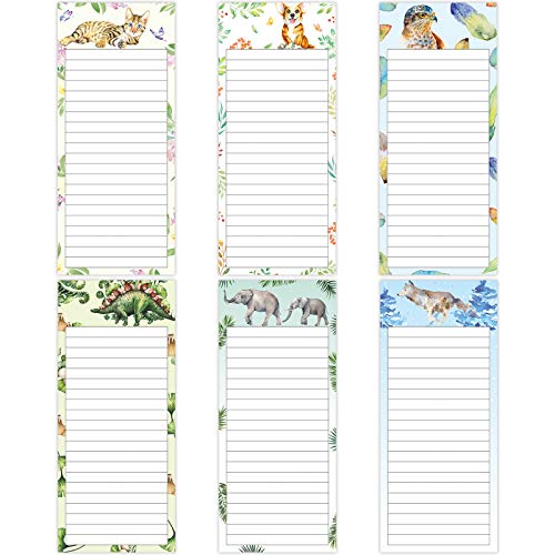 6 Pieces Magnetic to Do List Notepads Animal Magnetic Notepad Magnet Memo Pad Grocery Shopping List Reminders Back-Memo Pad for Fridge, 30 Sheets Per Pad, 7.5 x 3.2 Inch