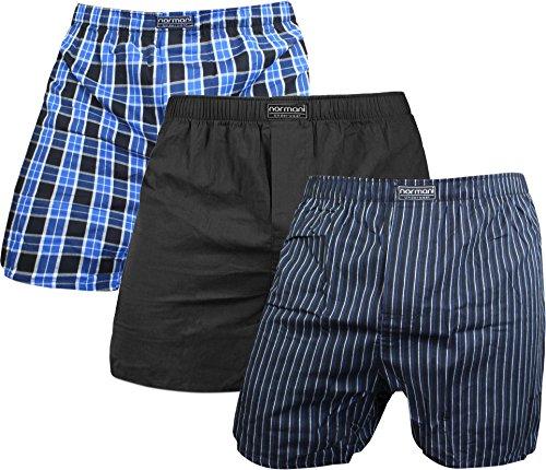 normani 3 x Herren Web Boxershorts aus Reiner Baumwolle atmungsaktiv und wärmeregulierend Farbe Blau/Schwarz Größe M