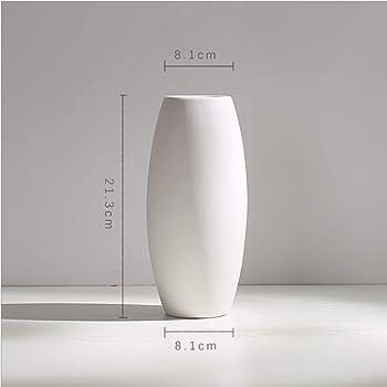 花瓶 陶器花器 フラワーベース おしゃれ 北欧 生け花 家の装飾 Flower Vase 白 (8.1*8.1*21.3)