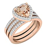 Dazzlingrock Collection 7 MM Heart Morganite & Round White Diamond Ladies Engagement Ring Double Band Set, 10K Rose Gold, Size 5.5