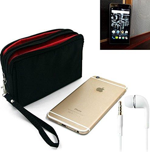 K-S-Trade TOP Set für Kodak Ektra Gürteltasche schwarz + Kopfhörer Travel Bag Travel-Case mit Diebstahlschutz praktische Schutz-Hülle Schutz Tasche Outdoor-case für Kodak Ektra