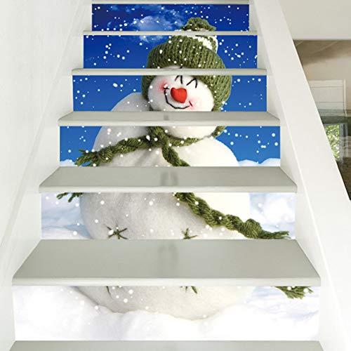 Pegatina para escalera, 39,3 x 7 x 6 unidades, diseño de muñeco de nieve de Navidad, para manualidades, escaleras, PVC impermeable, papel pintado de personalidad, creativo, decoración de pared