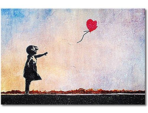 Tableaux-XXL® Impression sur Toile Banksy No.14 60x40cm - 6 Tailles Disponibles. Prêt à accrocher. Tendu sur châssis en Bois. des Motifs imprimés Originaux pour Chambre à Coucher, Chambre d'enfant
