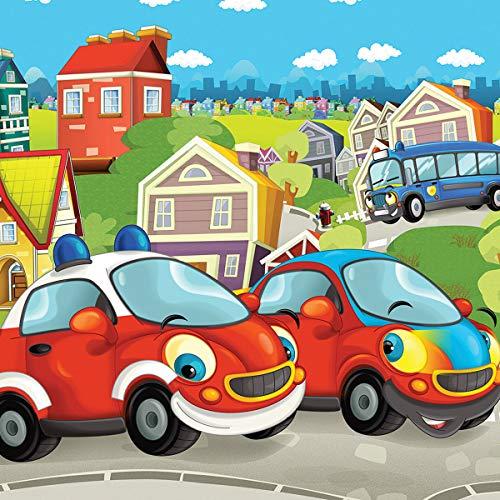 Consalnet 12549VEXXXL Kinder-Tapete Feuerwehr rot grün blau Junge Mädchen 416 x 254 cm 4 Streifen Vlies-Fleece nicht gewebt einfache Installation Papier 130 g/m² Klebepaste enthalten