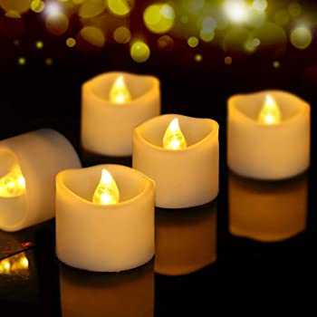 frestree Electric Tealight Candles Bulk Flameless Led Tealight Candles Flickering Led Candles Battery Operated with Timer Warm White 24 Pack