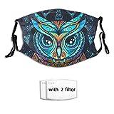Owl Face Mask Funny Face Mask Washable Adjustable 2 Filters Printed Mask Unisex Adult for Women and Men Teenager Mask