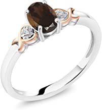Gem Stone King 925 Sterling Silver and 10K Rose Gold Ring Brown Smoky Quartz with Diamond Accent 0.75 cttw (Available 5,6,7,8,9)
