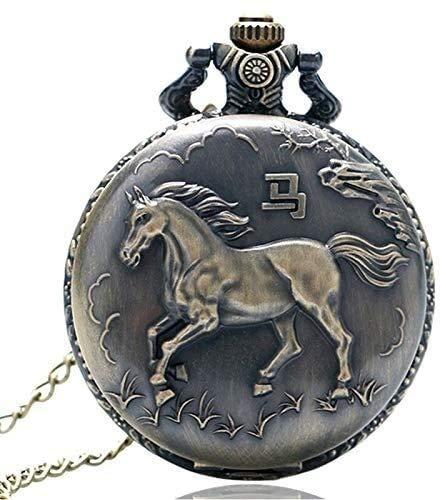 YYhkeby Kreativität Vantique Bonze 3D-Pferd-Quarz-Taschen-Uhr mit Halsketten-Kette Taschenuhr Taschenuhr Jialele