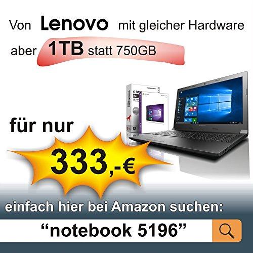 HP Notebook 15,6 Zoll, AMD E2-7110 Quad Core 4x1.80 GHz, 8GB RAM, 750GB HDD, AMD Radeon R2, BT, USB 3.0, WLAN, Win10 Pro 64 (shinobee-Edition) #5145