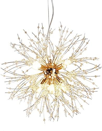 Lampadario fuochi d'artificio, lampadario in cristallo G9, utilizzato per l'illuminazione di camera da letto, sala da pranzo, soggiorno e isola cucina (Dorato Lampadario 8T)