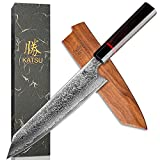 KATSU Kiritsuke Chef Knife - Damascus - Japanese Kitchen Knife - 8-inch - Handcrafted Octagonal...