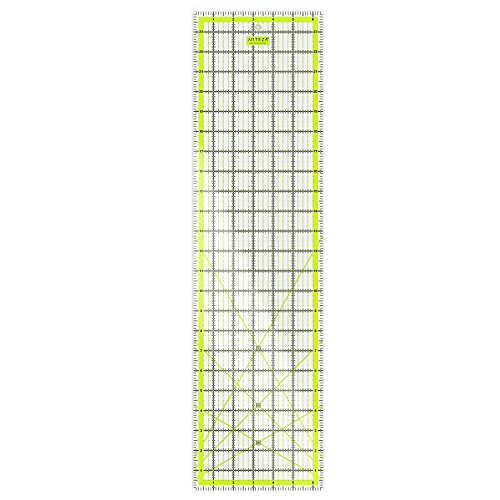 "ARTEZA Quilting Ruler, Laser Cut Acrylic Quilters' Ruler with Patented Double Colored Grid Lines for Easy Precision Cutting, 6.5"" Wide x 24"" Long for Quilting, Sewing & Crafts, Black & Lime Green"