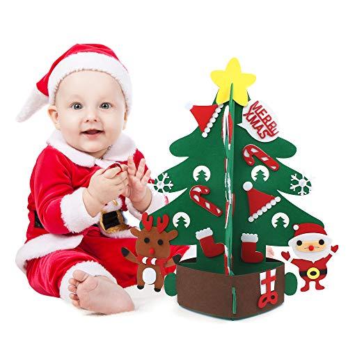 chudian 1 PCS Albero di Natale per Bambini in Feltro Albero di Natale Fai-da-Te Albero di Natale 3D Ornamenti Staccabili Regali di Natale per Bambini Decorazione(45 * 43cm)
