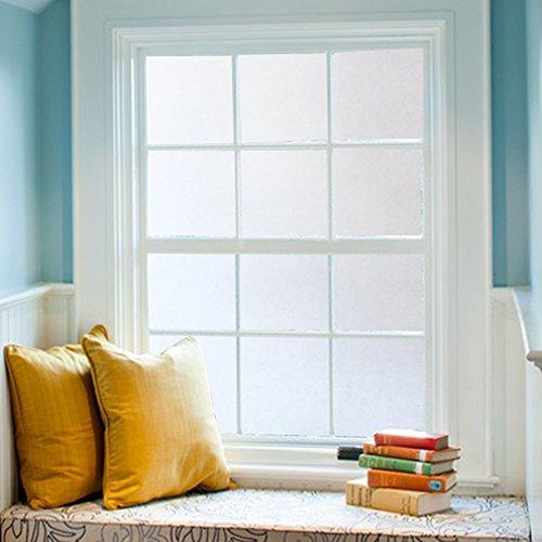 DUOFIRE窓めかくしシート窓用フィルムすりガラス調・インテリアガラスフィルム水で貼る・貼り直し可能目隠しシート断熱遮熱シートUVカット艶消し白い色DS001W(0.9MX2M)