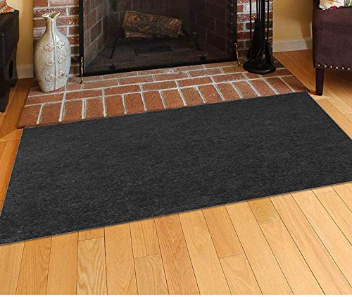 Together-life Fire Resistent Fireplace Hearth Rug, Rectangular Hearth Pad Polyester Trim Non Slip Mat Protects Floors Patio from Sparks Embers(50'' x 36'')