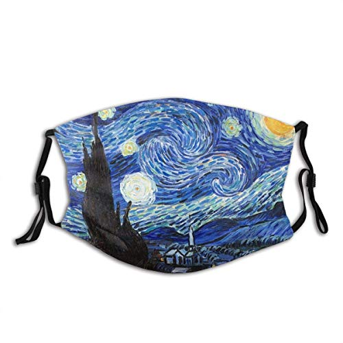 Van Gogh Starry Night Washable Reusable Face Bandanas Balaclava Mask with Adjustable Elastic Strap