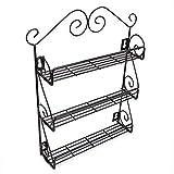 meisax a base di erbe e spezie porta spezie di supporto con 3piani per la porta dell' armadio, la cucina a parete Nero