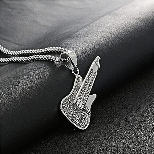 YQMR Colgante Collar para Mujer,Vintage Pendant Necklace For Women Silver Guitar White Crystal Pendant Punk Jewellery Lady Clásico Regalo para Parejas Cumpleaños Aniversario De Bodas