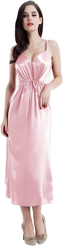 100% Mulberry Silk Nightgown Sleepwear High Waist Long Dress Pink Dress Tulip Hem