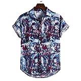 JJZSL Botones Camisas Hombres Ropa Para Hombre Algodón Ropa Étnico Manga Corta Casual Impresión Suelta T Hawaiano Camisa Blusa Blausa Ropa De Playa Hip Hop (Color : A, Size : L code)