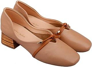 [ジョイジョイ] パンプス スクエアトゥ 太めヒール 浅め フェイクレザー カジュアル オフィス ビジネス 蝶結び 磨耗に強い 春夏秋 婦人靴 美脚 ol フォーマル 柔軟性 キレイ 日常着用 通勤通学 軽い