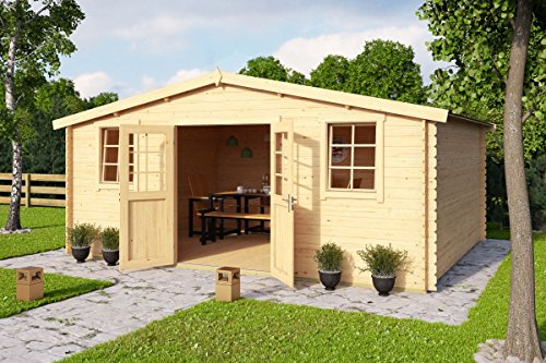 *Gartenhaus G234 inkl. Fußboden – 28 mm Blockbohlenhaus, Grundfläche: 20,40 m², Satteldach*