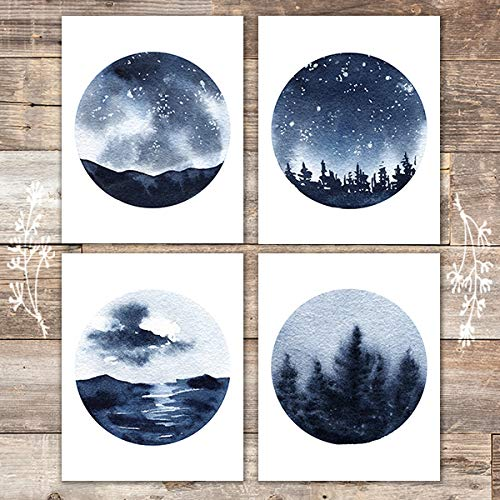 Watercolor Stars, Seas, and Skies Art Prints (Set of 4) - Unframed - 8x10s