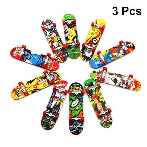 Garneck 3 Stück Mini Griffbrett Finger Skateboard Lustige Finger Roller Skateboard Spielzeug Tech Deck für Kinder Zufällige Farbe