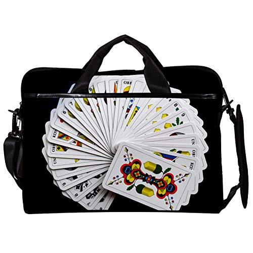 EIN Kartenspiel Laptop-Tasche Umhängetasche für Notebook Tablet mit verstellbarem Schultergurt Canvas Messenger Aktentasche Handtasche Hülle für Frau, Mann 38.1x27.94x2.54cm