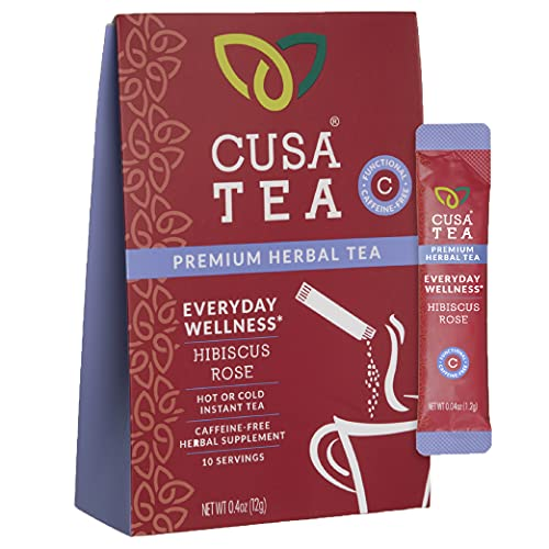 Cusa Tea: Everyday Wellness Herbal Tea - No Caffeine - Hibiscus, Rose and Licorice - Control Inflammation & Aid Digestion - No Sugar - Ready in Seconds - Hot or Iced Tea (10 Servings)