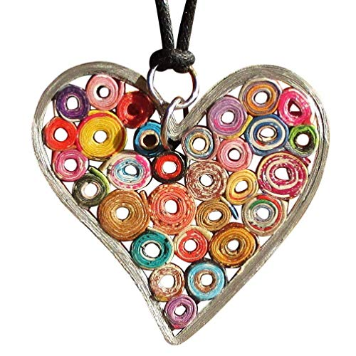 Multi Color Heart Necklace Handmade From Colorful Magazine Paper - Art jewelry reclaimed salvaged material quilled upcycled upcycle up-cycled recycled lovely vegan tree of life statement pendant