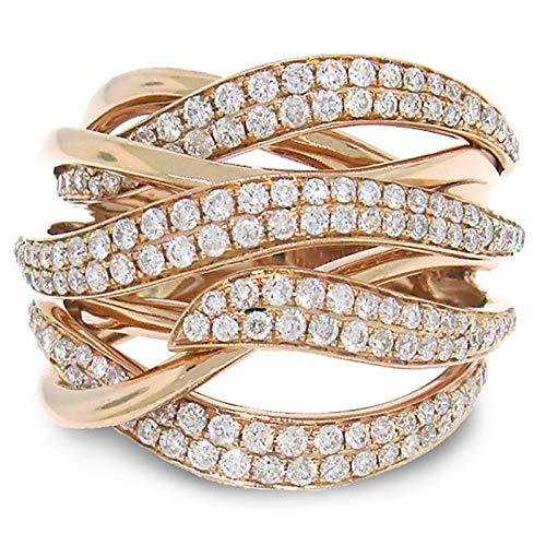 DGSDFGAH Anillo Mujer Anillo Simple De Diamantes De Imitación Trenzados Dorados, Joyería para Mujer, Tamaño Brillante, Hermoso Y Único, Regalo De Joyería para Mujer para Aniversario, Fiesta De C