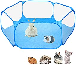 Amakunft Small Animals C&C Cage Tent, Breathable & Transparent Pet Playpen Pop Open Outdoor/Indoor Exercise Fence, Portable Yard Fence for Guinea Pig, Rabbits, Hamster, Chinchillas and Hedgehogs