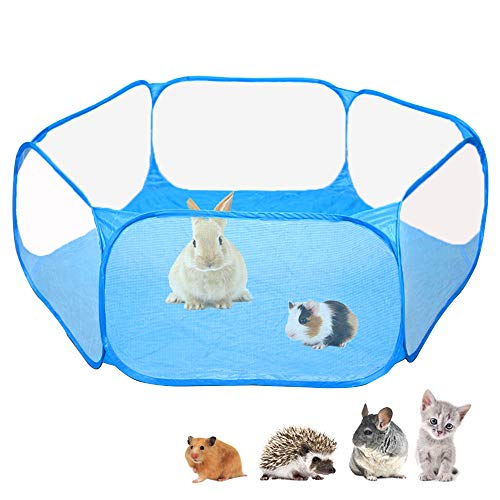 Amakunft Small Animals C&C Cage Tent, Breathable & Transparent Pet Playpen Pop Open Outdoor/Indoor Exercise Fence, Portable Yard Fence for Guinea Pig, Rabbits, Hamster, Chinchillas and Hedgehogs …