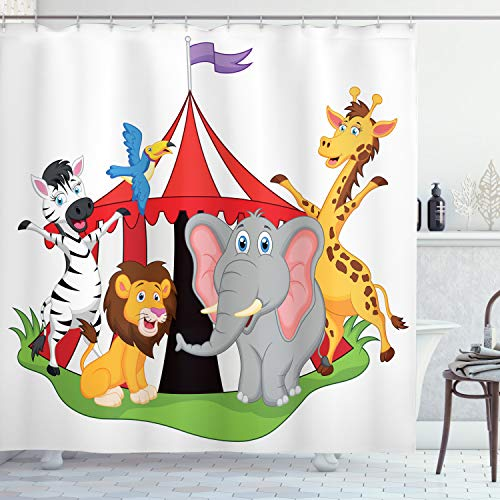 "Ambesonne Circus Shower Curtain, Performer Acrobat Animals Front of a Tent Happy Giraffe Lion Zebra Joyful Art Funny Design, Cloth Fabric Bathroom Decor Set with Hooks, 84"" Long Extra, Green Yellow"