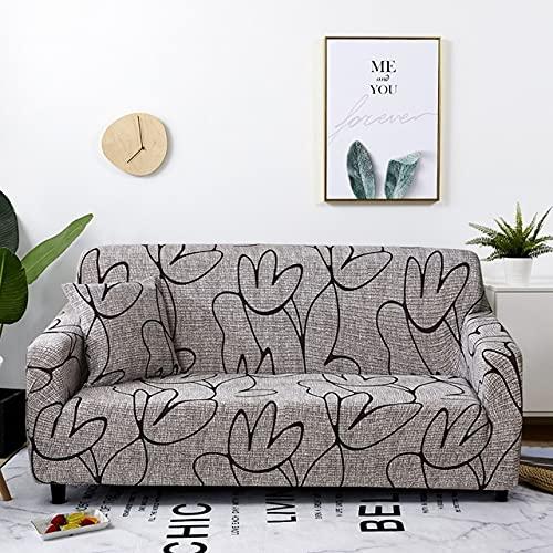 uyeoco Fundas de sofá 1 2 3 4 Plazas Elasticas Protector de Muebles Ajustables Impresión Protector de sofá (Color : L, Size : 2 posti (145-185cm))