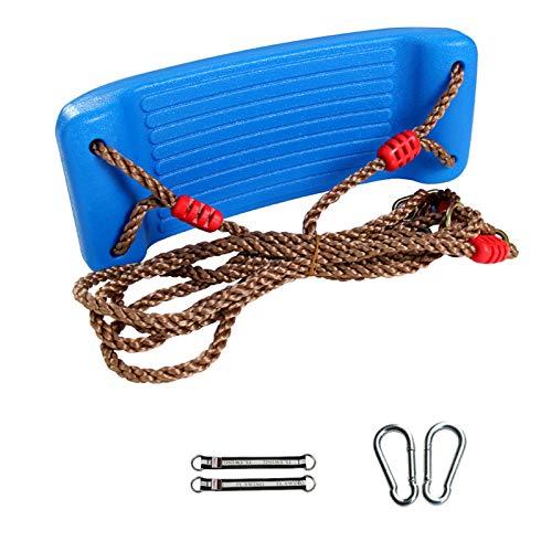 Schaukel für Kinder und draußen, Schaukelsitz aus Kunststoff mit verstellbarem Seil, belastbar bis 150 kg, Schaukel zum Aufhängen, für Kinder, Garten, Außen- und Innenbereich (Blau)
