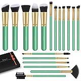 LEUNG Brochas de Maquillaje, LEUNG 16 piezas Pinceles de maquillaje Set, Set de brochas de maquillaje profesional Pinceles Sintéticos Para Correctores en Polvo de Base Blush Eyeshadow (Menta verde)