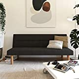 DHP Elm Convertible Living Room Sofa Bed and Couch Linen Futon, Gray