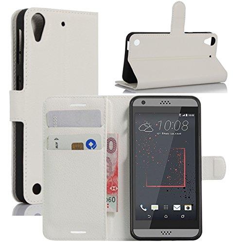 HualuBro HTC Desire 530 Hülle, Premium PU Leder Leather Wallet HandyHülle Tasche Schutzhülle Flip Hülle Cover für HTC Desire 530 Smartphone (Weiß)