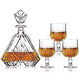 New rui cheng Vaso de Vino de Whisky Juego de Decantador de Whisky de Cóctel 1 Botella de 22oz + 3Vasos de 6oz Decantador de Licor Grabado Garrafa Caja de Regalo para Vodka Escocés