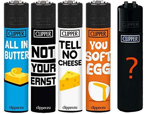 Clipper Original Lighter Flints 4 Set + 1 Überraschungsclipper Feuerzeug All u Need Schlüsselanhänger Flaschenöffner (Denglish #5)