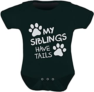 My Siblings Have Tails Cute Novelty Funny Infant Baby Boy Girl Bodysuit