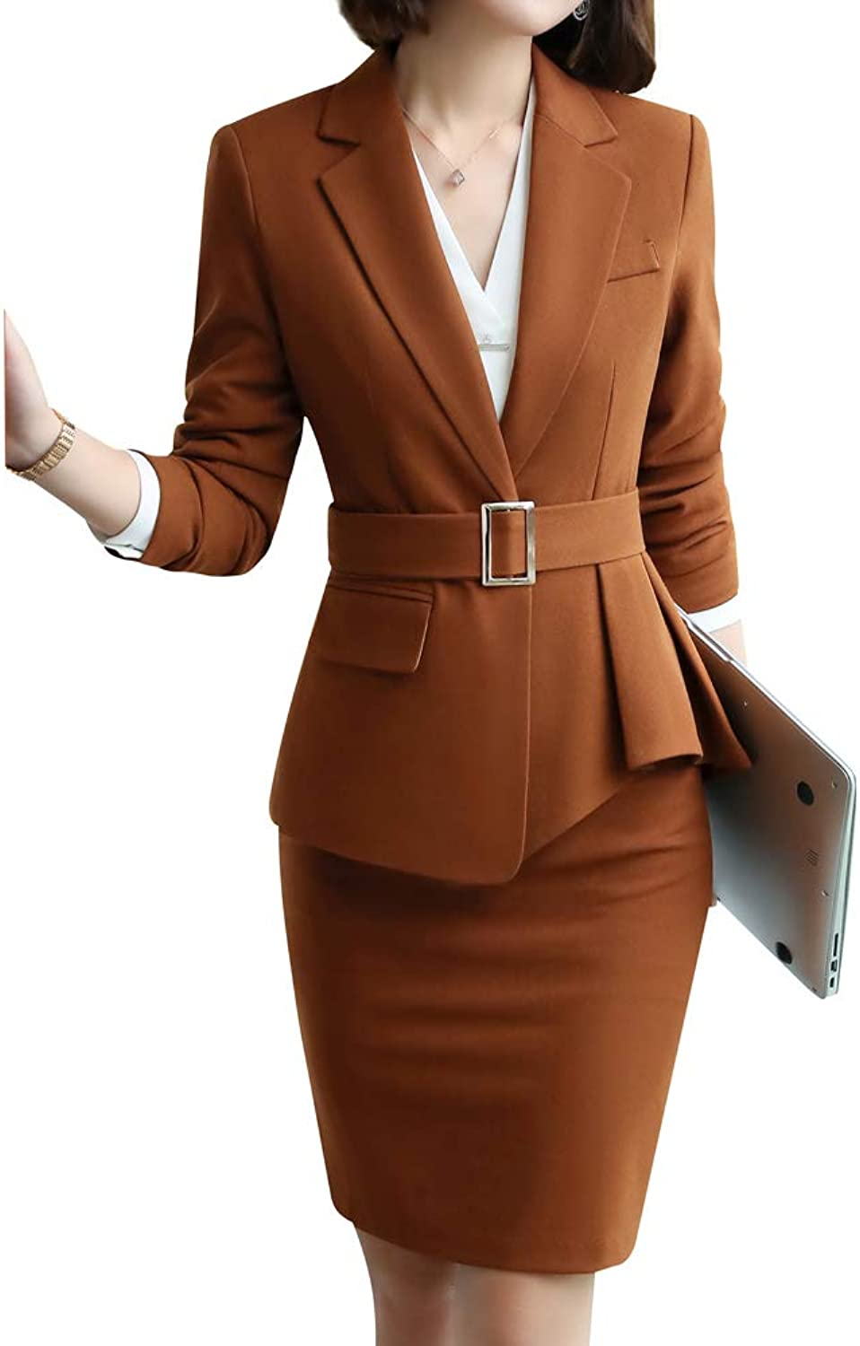 LISUEYNE Women's 2 Piece Slim Fit Blazer Suit Office Lady Business Suit Set Blazer Jacket,Pant Skirt