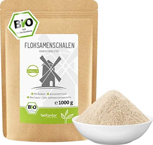 Flohsamenschalen gemahlen BIO 1000g (1kg) I 99% Reinheit I Flohsamenschalenmehl low carb - 100% Bio - indische Flohsamen Schalen - Rohkostqualität von bioKontor
