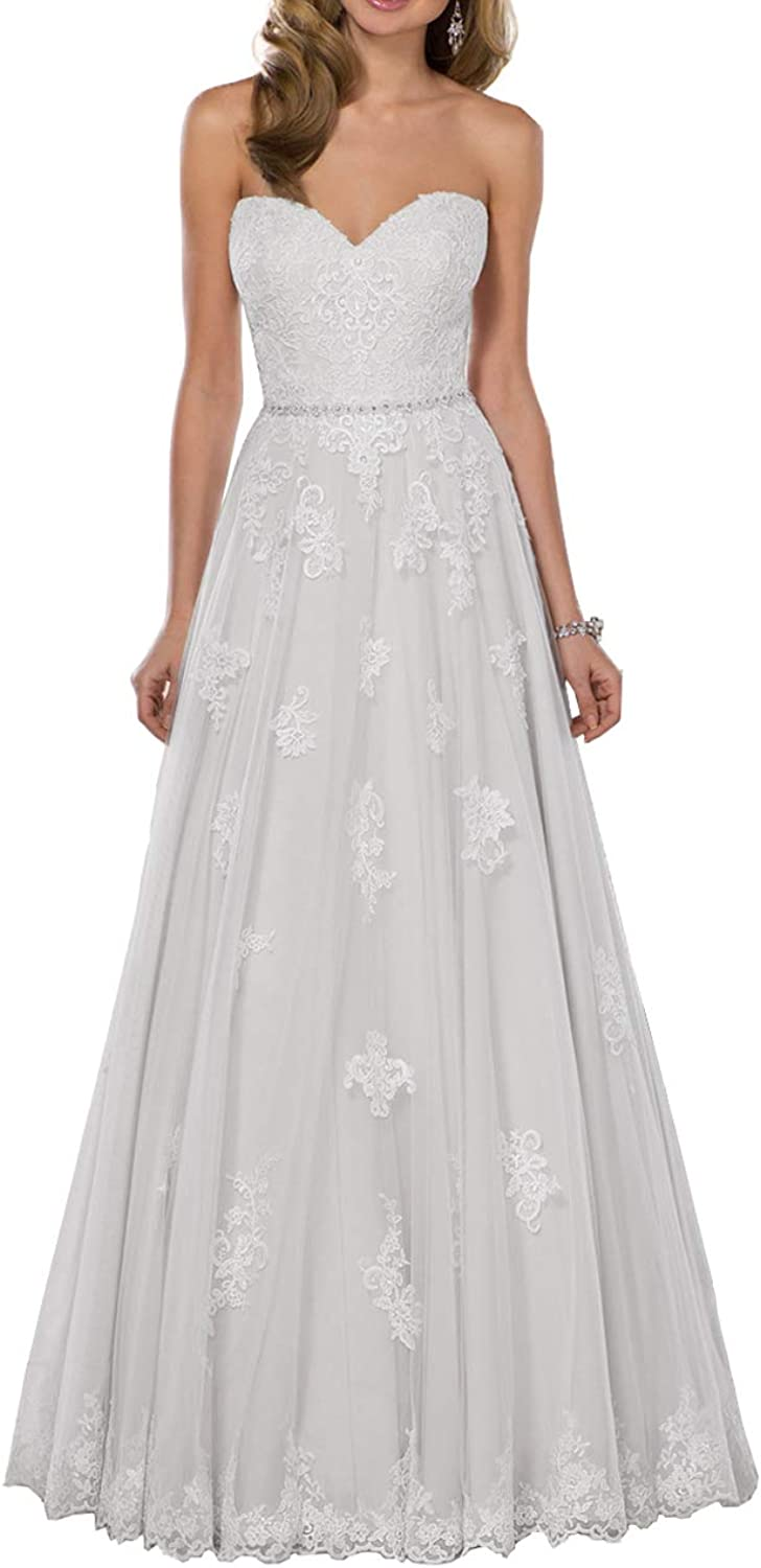 Sweetheart Wedding Dresses Lace Appliques Long Bridal Gowns Beaded Maxi Vintage Bride Dress