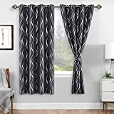 DWCN Blackout Curtains with Tiebacks - Stripe Silver Foil Print Thermal Insulated Privacy Protection Grommet Window Curtains for Living Room Bedroom, Set of 2 Panels, W52 x L63 inch, Dark Grey