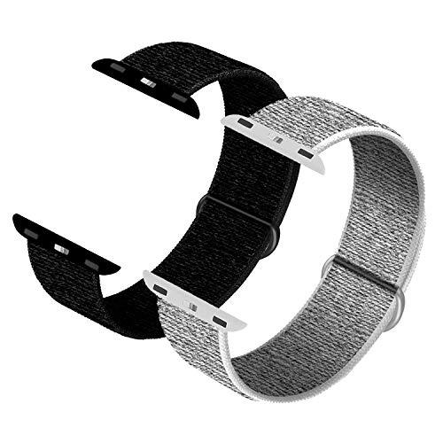 JONWIN Correa para iWatch 38mm 40mm, Soft Sport Loop, Reemplazo de Correa para iWatch Series 6/5/4/3/2/1/SE,Dark Black&Sea Shell